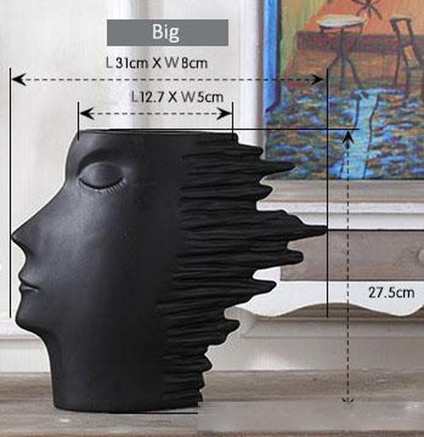 Абстрактный лицо Vase Современное искусство ветра Человек Керамические скульптуры Human Head Статуя моды украшения дома ремесел Черный Белый