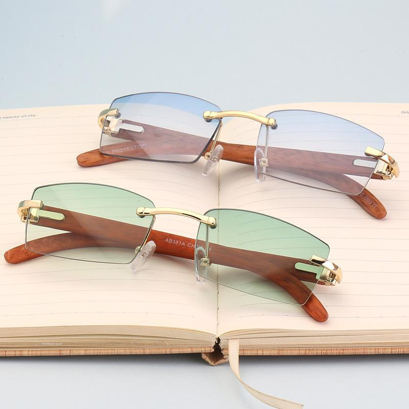 Vazrobe Randlos Sonnenbrille Männlich Goldhölzernes Sonnenbrillen für Männer Frauen Mode-Design, Braun, Rot-Objektiv