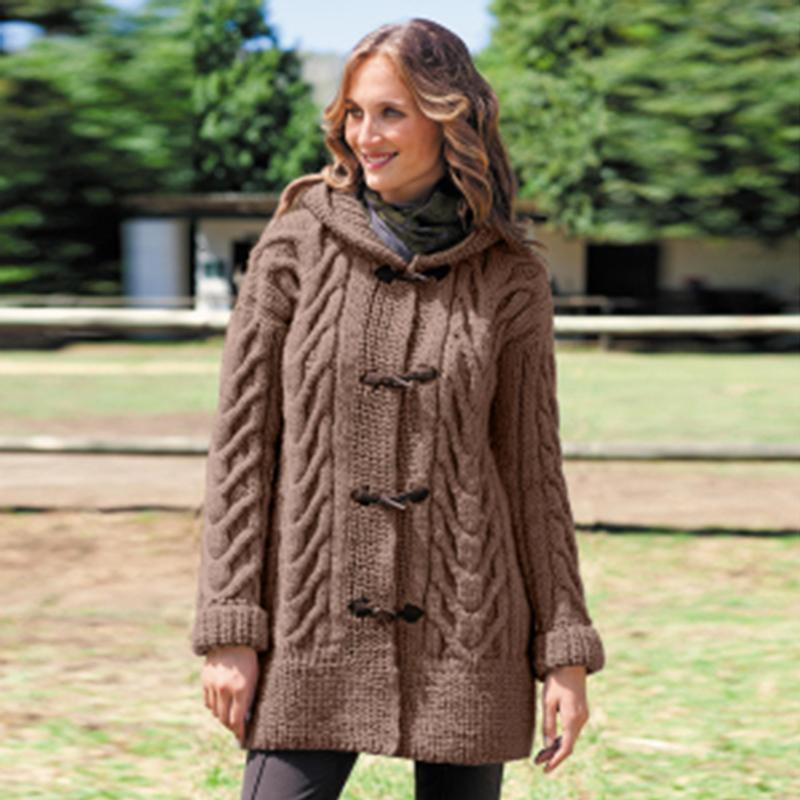 2020 Neue Herbst- und Wintermode der Frauen Mode mit Kapuze Strickjacke Langarm Kausal Lose Pullover Mantel Outwear Mantel