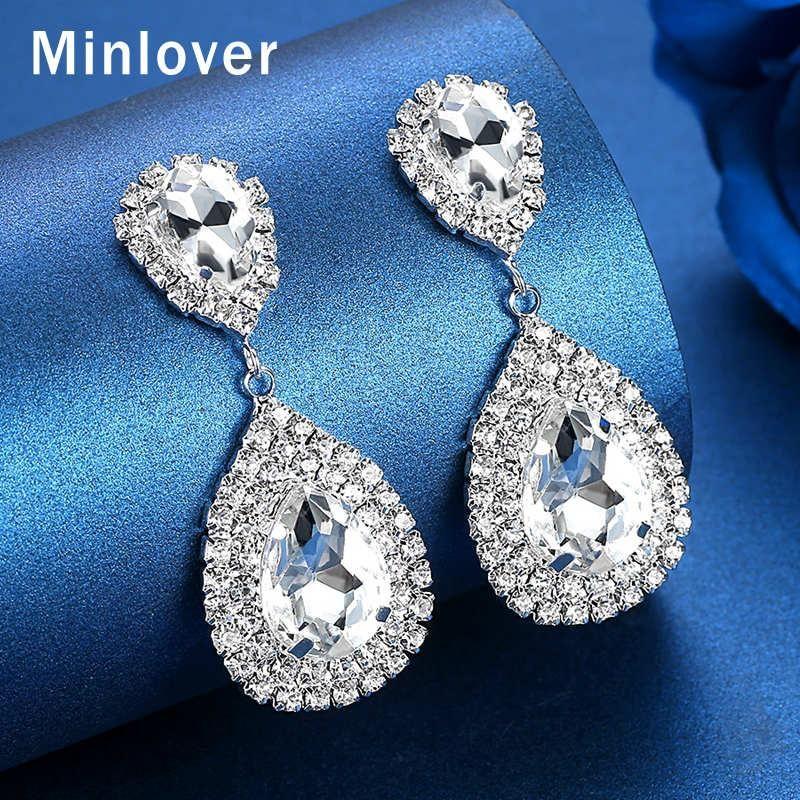 Minlover Siver Noiva Cor Brincos para Mulheres Teardrop Rhinestone Grande Dangle Brincos Moda 2020 jóia do casamento MEH003