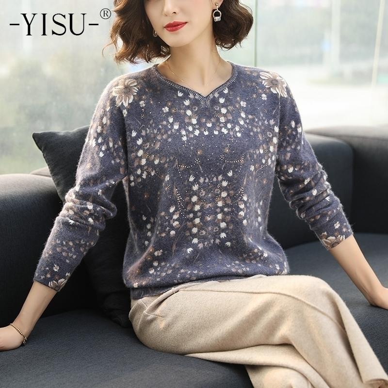 Yisu печатный свитер Pullovers женщин осень зимний свитер женские свободные длинные рукава цветочные узор трикотажные мягкие свитеры 201030