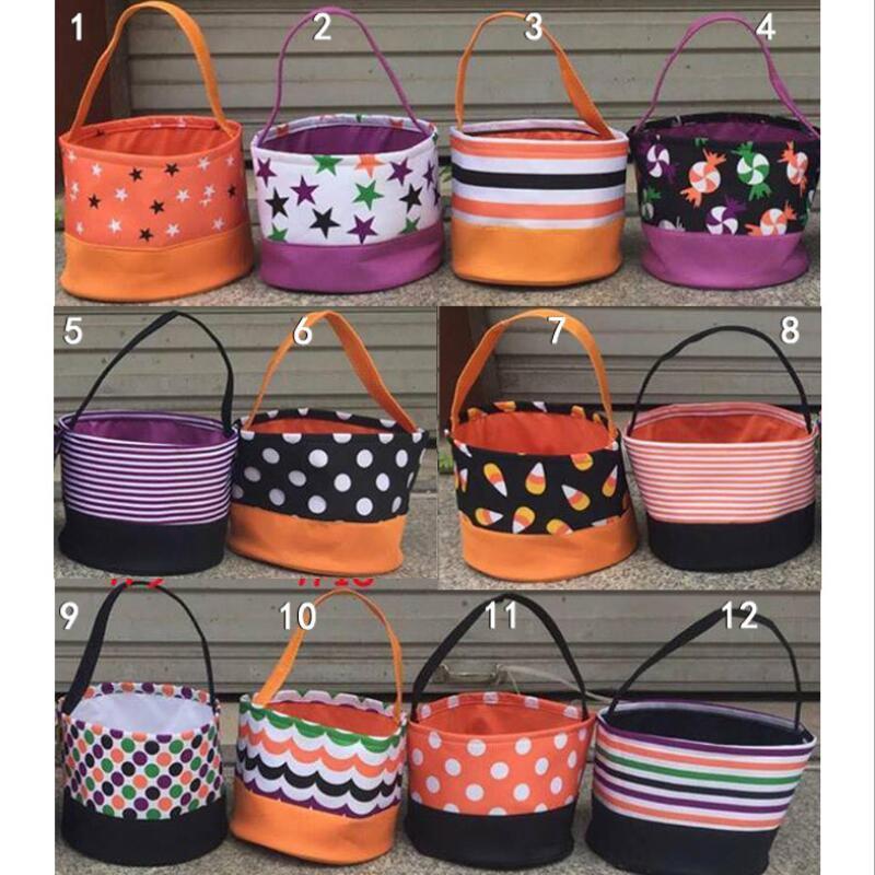 DIY Tote Candy угощение сумки Хэллоуин Candy Trick Saceates Tote ведра сумки для детской ткани Хэллоуин LX3604 подарочные ведра или сумка VVKRK