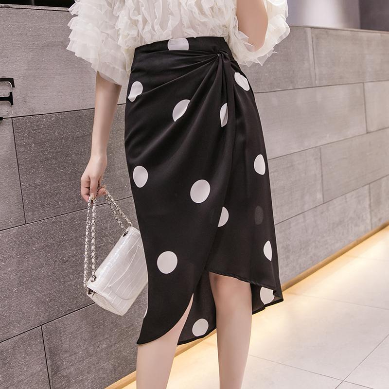 2020 летние черно-белые в горошек нерегулярная юбка с высокой талией тонкий шифон длинные юбки женские корейские элегантные щели пленку пленку q0119