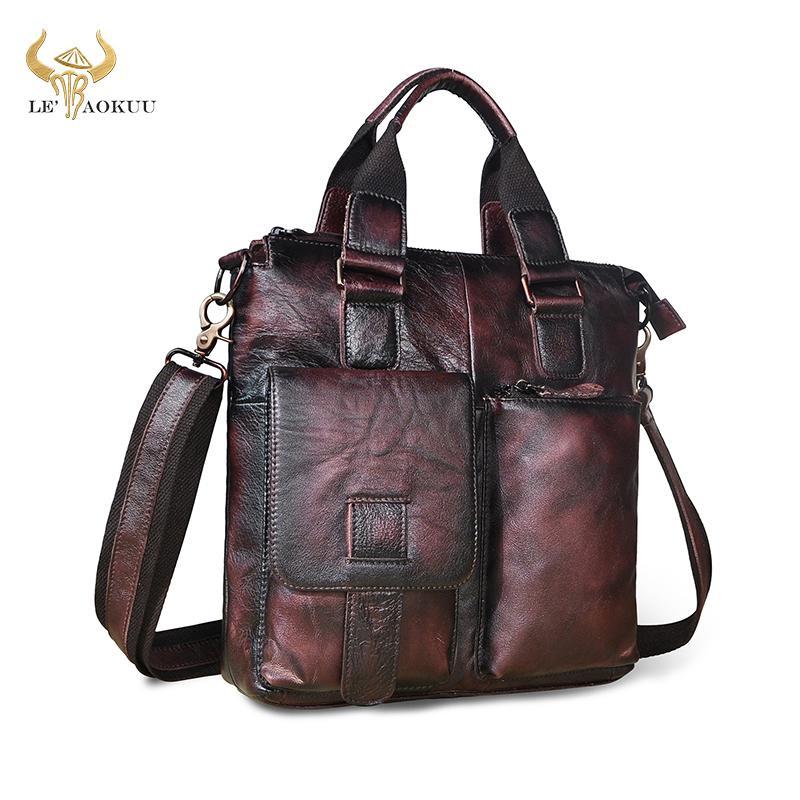 "Men Natural Leather Casual Blue Maletas Business Briefcase 12"" Laptop Case Attache Portfolio Tote Maletin Messenger Bag b259 Q0112"