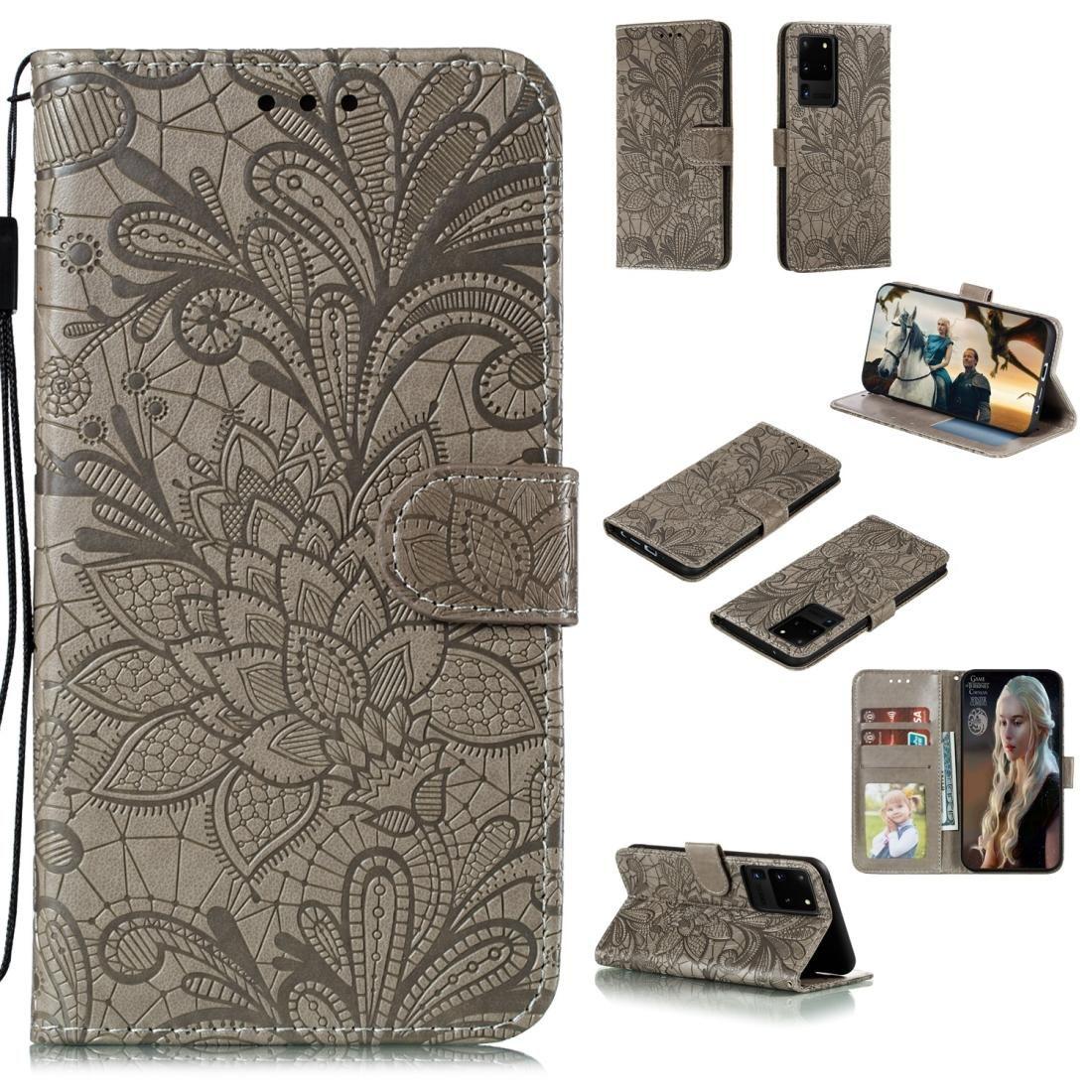 Pour Samsung Galaxy Note20 Ultra dentelle fleur en cuir flip cas horizontal avec Porte-cartes Machines à sous Wallet Cadre photo