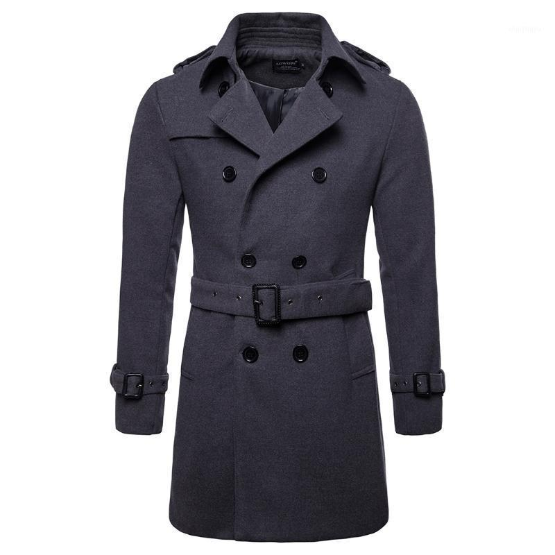 Хорошее качество ветровка мужская ес размер мужской длинный шерстяной пальто материал ветровая ветровка куртка XXL Cread Coat Men1