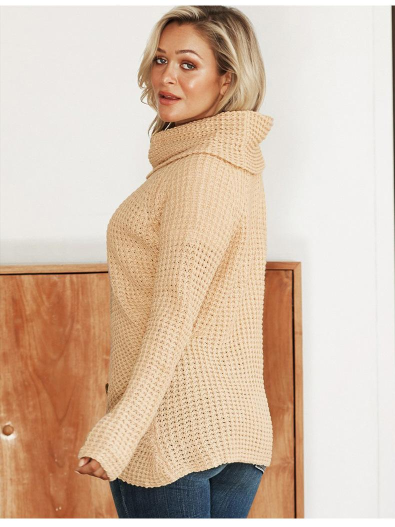 botão 2020 camisola de malha de outono cor sólida e de inverno senhoras nova camisola mulheres gola alta ocasional senhoras manga longa cardigan