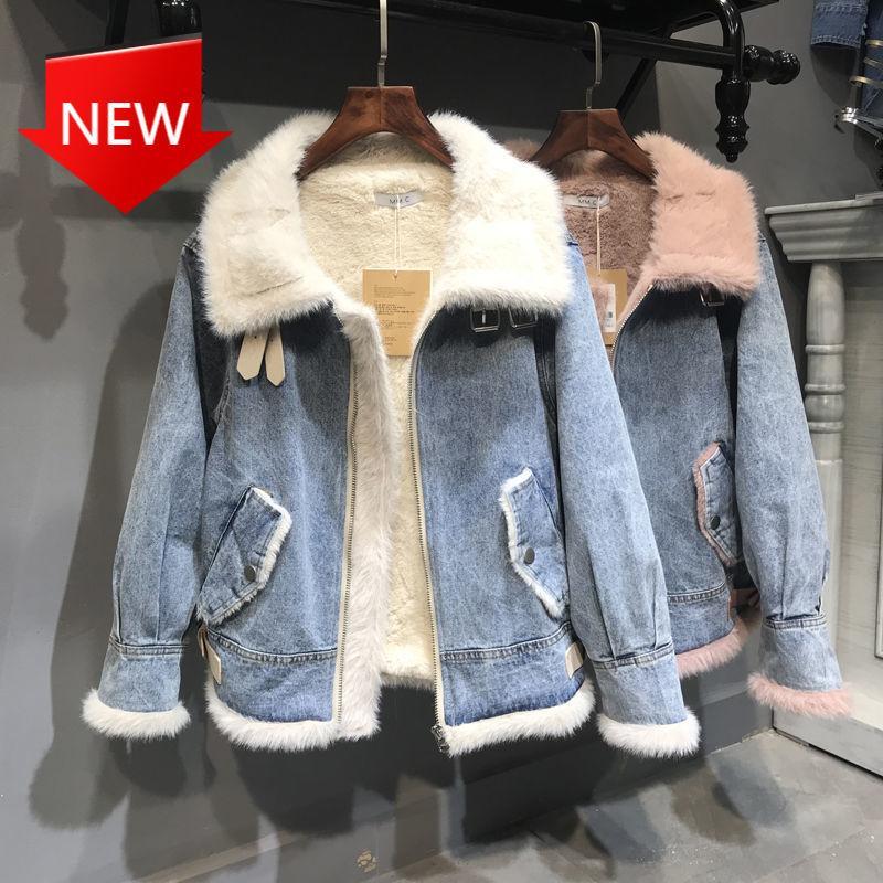 Подкладка Куртки плюс Размер Свободные джинсы Пальто Женская Теплая Верхняя одежда Женская Джинсовая Куртка 2020 Новый Корейский стиль Зимний Мех