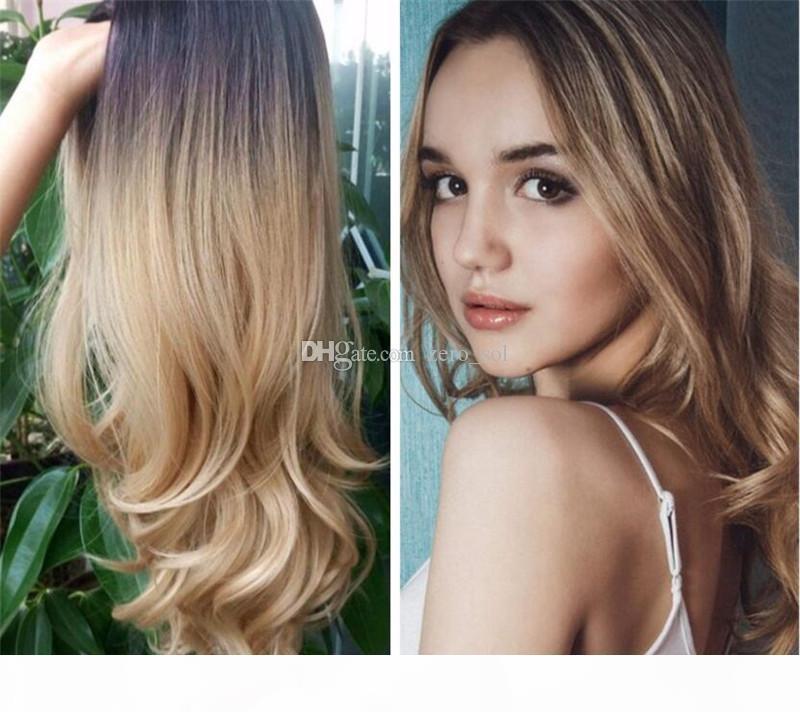 Two Tone 1B 27 Бразильская фронта шнурка человеческих волос Парики с волос младенца Remy Черный Honey Blonde Ombre парик шнурка для женщин