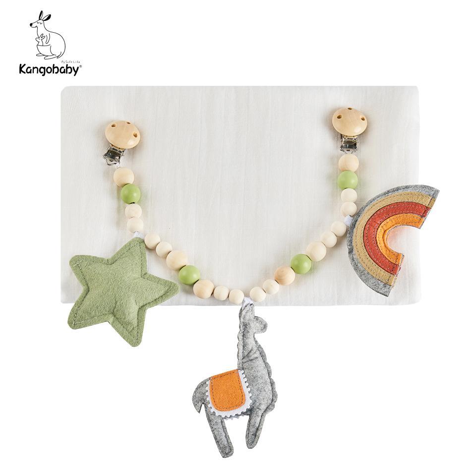 Kangobaby #my vita morbida # simpatico baby carrozzina giocattolo in legno di loto teether con mussola swaddle coperta braccialetto bambino Y201001
