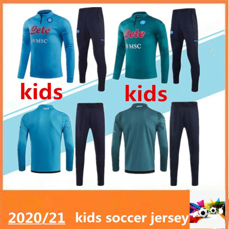 2020 2021 Kinder Napoli Hamsik Insignente Callejon Zielinski Fußball Trainingsanzug 20/21 Kinder SSC Neapel Veste Maillot de Football Training Anzug