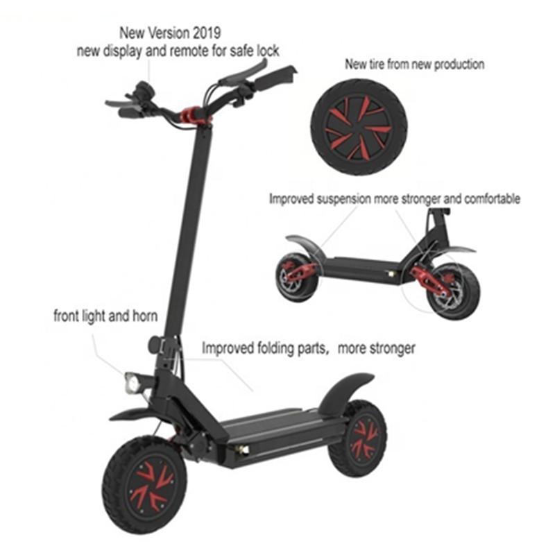 10-Zoll-leistungsstarker elektrischer Roller 3600W 60V-Zwei-Rad-Elektroroller Erwachsene Ecorider E4-9 Faltender elektrischer Roller-Skateboard