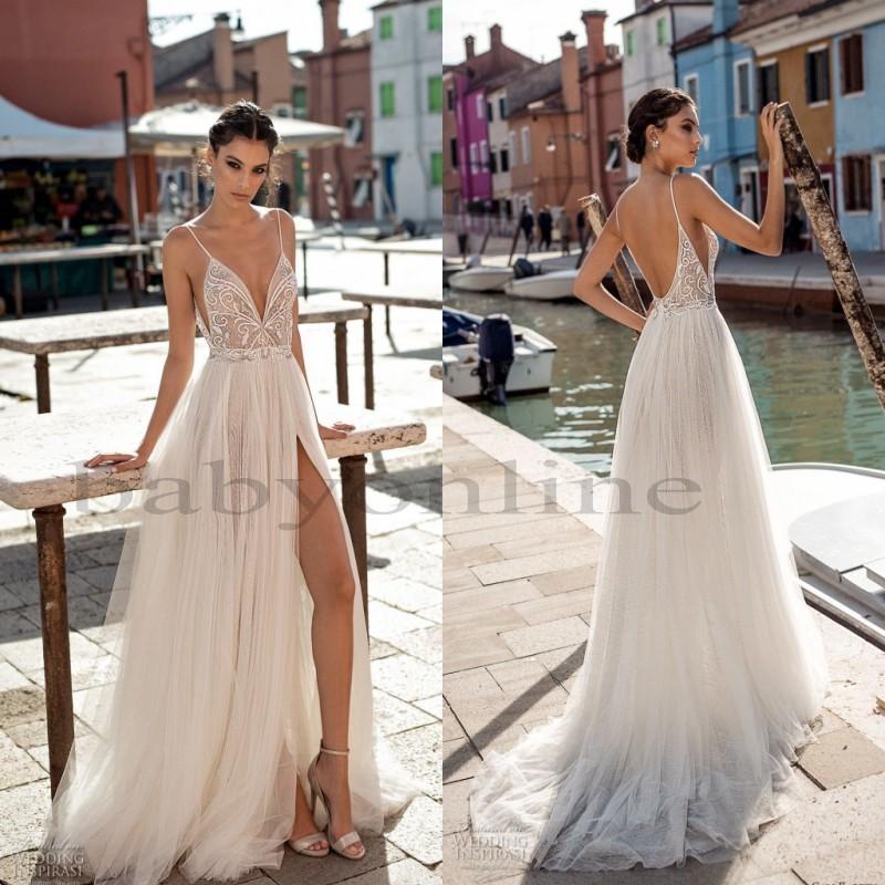 Gali Karten 2021 Beach Wedding Dresses Side Split Spaghetti Sexy Illusion Boho A-Line Wedding Dresses Pearls Backless Bohemian Bridal Gowns