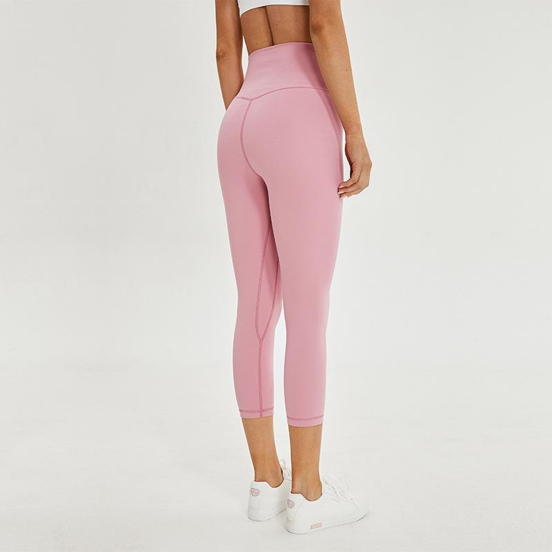 New style double side sanding naked sense sports Yoga Capris women's hip lifting running fitness pants quick drying elastic Yoga Pants