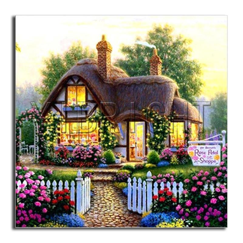 5D bricolage diamant jardin de fleurs de broderie pleine diamant rond peinture maison Croix pleine place Diamond Cottage mosaïque