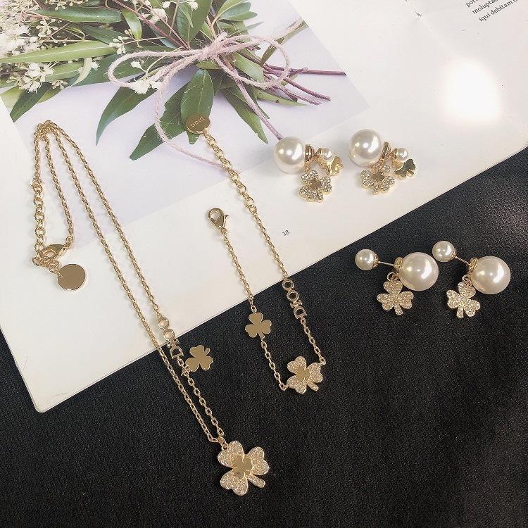2020 CD новых роскошные женский дизайнер алмазов шипованных жемчужные ожерелья клевера браслет 925 серебряных иглы жемчужных серег