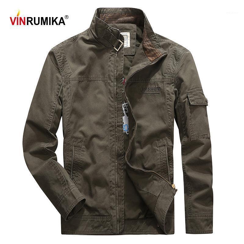 Мужские куртки Vinrumika 2021 Европа Осень Повседневная Бренд 100% Хлопок Армия Зеленый Человек Весна Хаки Куртка Черный синий