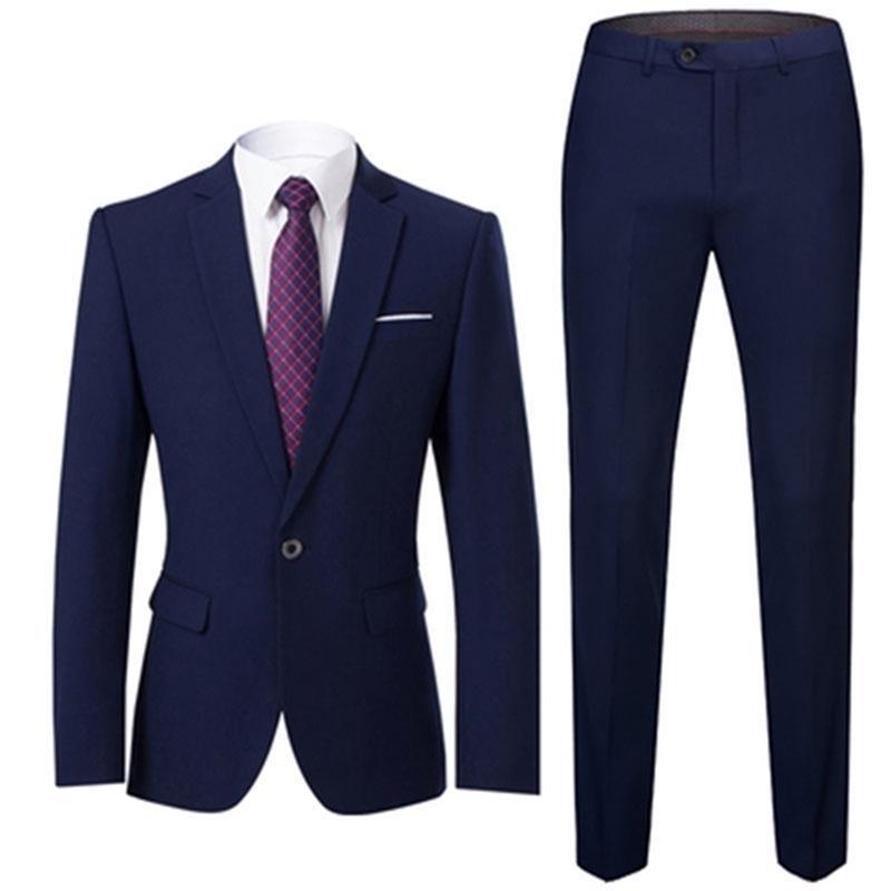 Hommes Costumes Slim Fit Business Uniform Office Support Wedding Groom Partie 2 pièces Pantalon Notch Vapel Simple Bouton Formal Casual Y201026