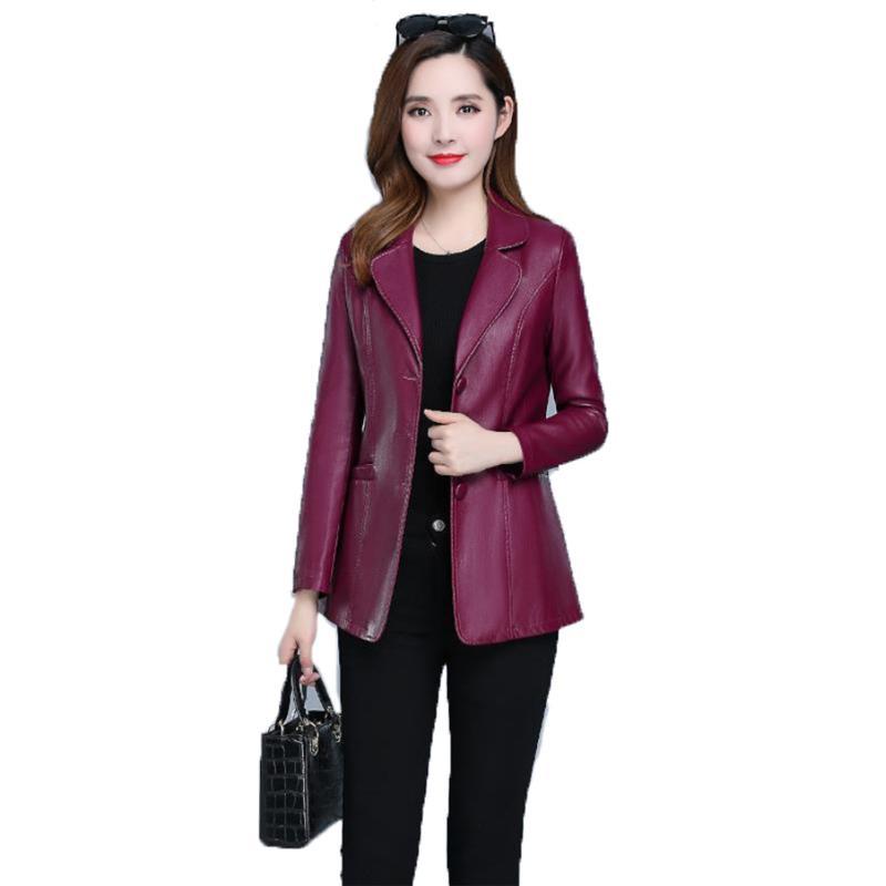 ecopelle cappotto autunno Donne Nero vino rosso XL-6XL Plus Size coreano Temperamento rivestimento lungo manica corta moda giacca JD307 201007