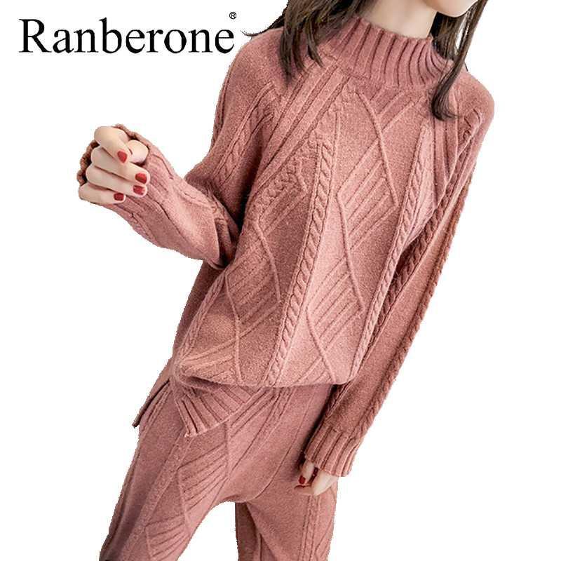Ranberone invierno espesar las mujeres Harem de dos piezas caliente Conjunto de punto trenzado suéter retro femenino de los pantalones del color sólido de 2020