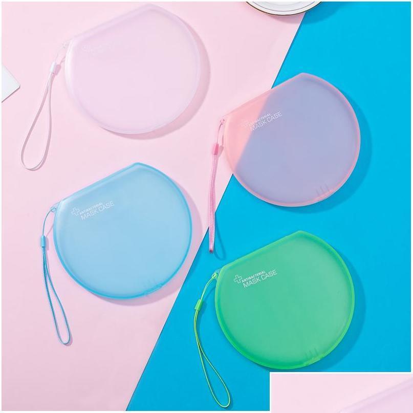 Caixa de armazenamento Máscara Caixa Organizador Circular Face Masks Titular Geada Plástico Preto Branco Branco Transparente Portátil Sqctnf Wphome