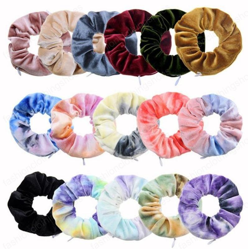 Pocket Wallet Hair Scrunchies Zipper Large Intestine Hairbands Tie Dyed Hair Band Ponytail Holder Hair Accessories 16 Designs