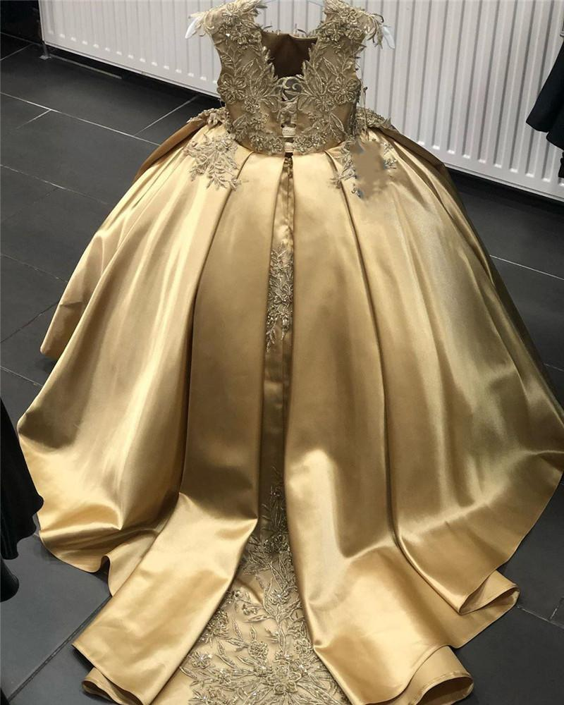 Gold Embroidered Flower Girl Dress Satin Beaded Cap Sleeve Scoop Formal Evening Prom Dress Kids Party Toddlers First Holy Communion Gowns