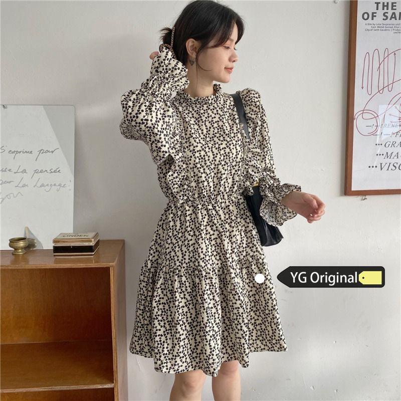 Koreanische Version Frauen Blumen gedruckt 2020 Herbst langärmelige Druck Kleid lässig kurze Kleider