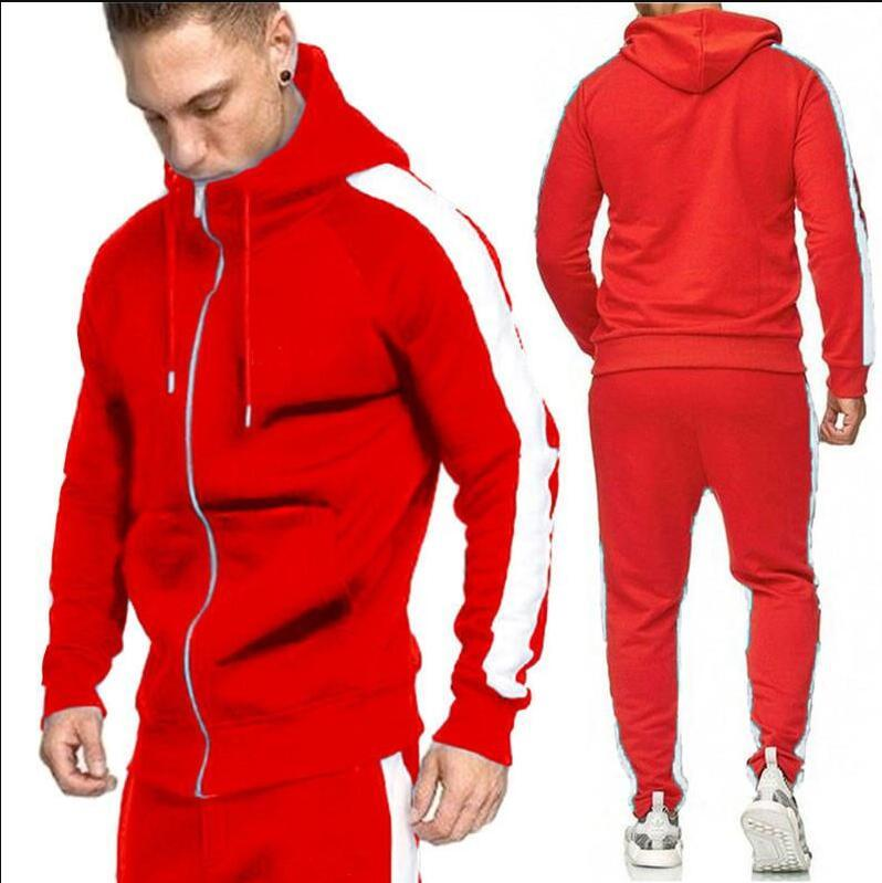 2020 hombres de la cremallera del chándal de moda lado de rayas con capucha capucha de la chaqueta de los pantalones ocasionales de los hombres trajes de pista de 2 Piezas Sweatsuit M-4XL