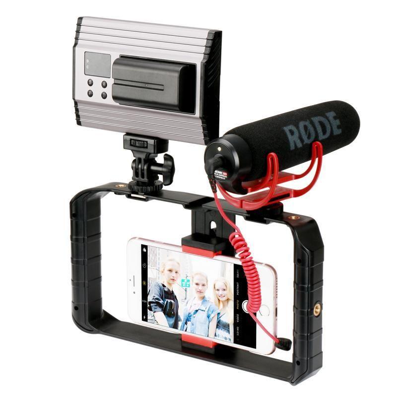2020 New U-Rig Pro Smartphone Video Rig W 3 Shoe Mounts Filmmaking Case Handheld Phone Video Stabilizer Grip Tripod Mount Stand