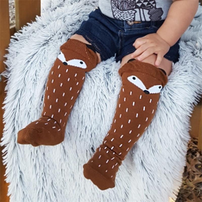 1 paire mignon dessin animé mignon ours fox motif bébé fille garçon chaussettes enfants jambes enfants chaussettes en coton doux genou doux 0-3 y y201009