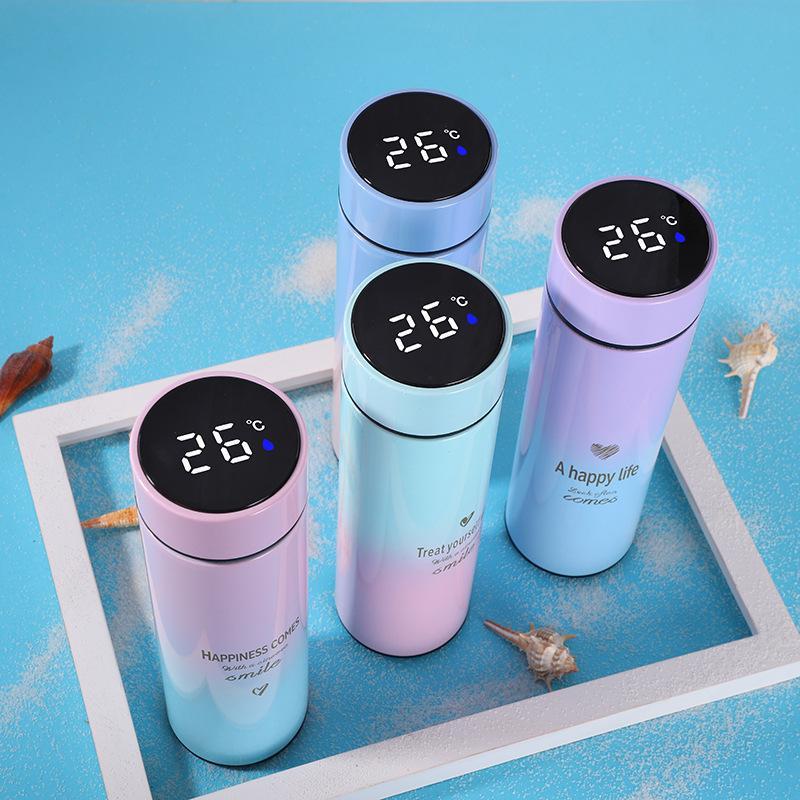500ml Smart Thermos Garrafa de Água LED Digital Temperatura Display de Aço Inoxidável Café Térmica Canecas Inteligente Isolamento Cups 20126