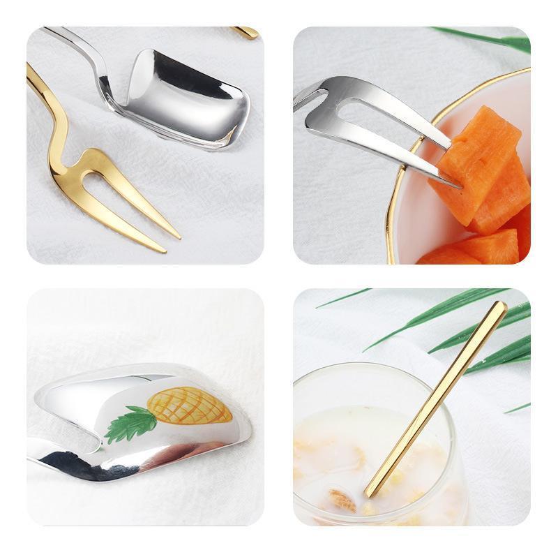 Acero inoxidable de pared chapado en oro inoxidable cuchara de café de hielo crema cuchara cucharada de café Accesorios Teaspoo fruta Tenedor