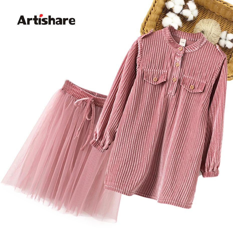 Kızlar Giyim Çizgili Eşofman Kızlar Için Bluz + Örgü Etek Kıyafetler Kızlar için Rahat Stil Çocuk GiyimX1019