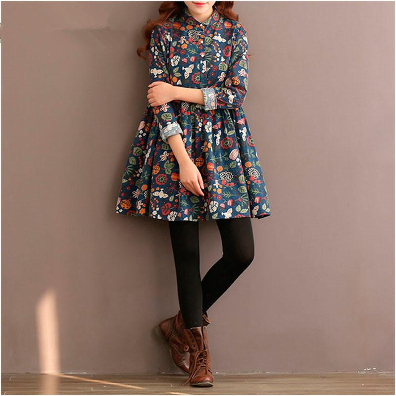Clobee Winter Autumn Dress Women Flower A Line Dress Women Long Sleeve Mori Girl High Waist Turn Down Collar Cotton Lolita Dress 201008