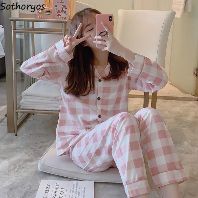 Pijama conjuntos mujeres manga larga otoño 2xl cardigans impreso elegante fino moderno estilo coreano homewear bolsillos para mujer pijamas nuevo