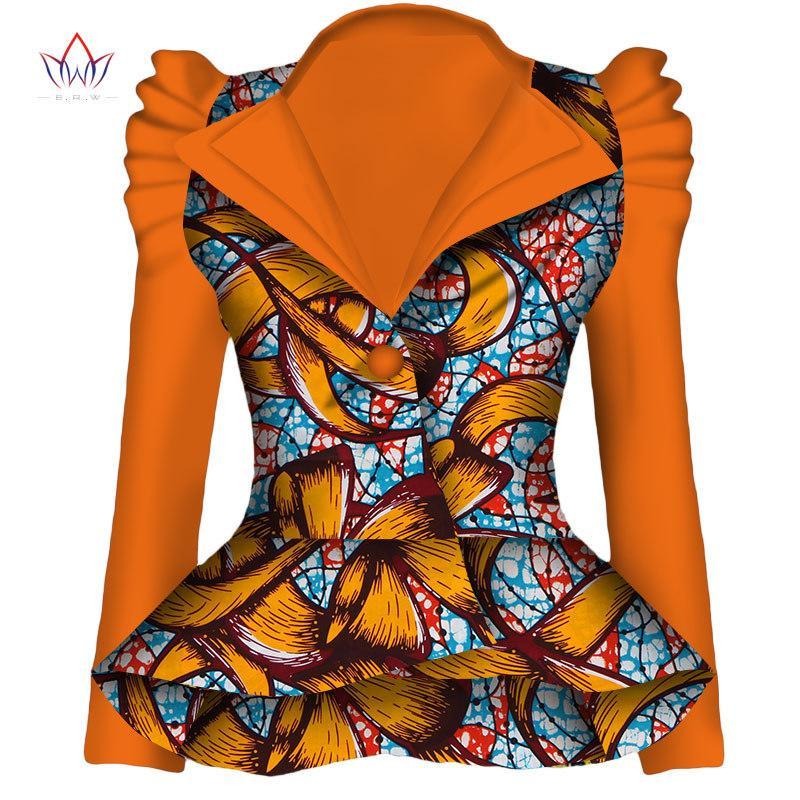 Autumn African Blazer for Women Dashiki Ankara Clothing Fashion Coat Batik Wax Printing Jacket 100% Cotton BRW WY1870 201015