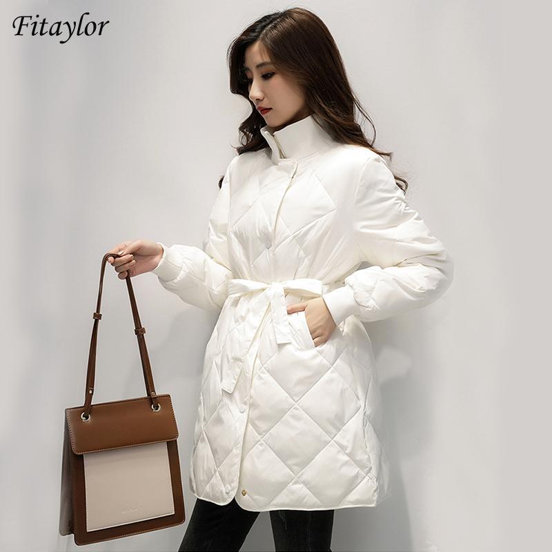 Fitaylor Kış Ultra Hafif Uzun Ceket Kadınlar 90% Beyaz Ördek Aşağı Ceket İnce Aşağı Ceketler Lace Up Bel Parkas Sıcak Kar Dış Giyim T200909