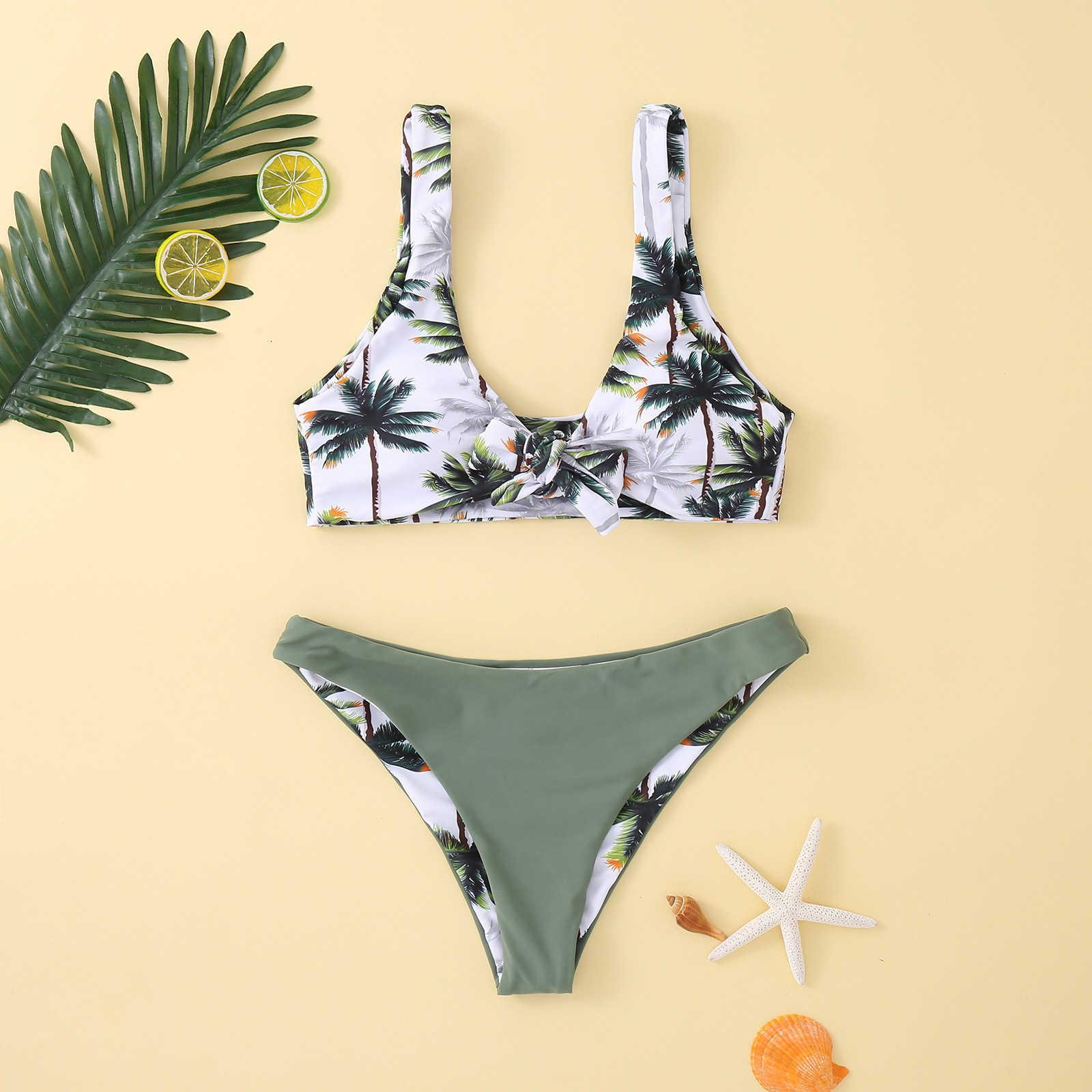 2021 Novo Sexy Coconut Print Split Bikini Swimsuit