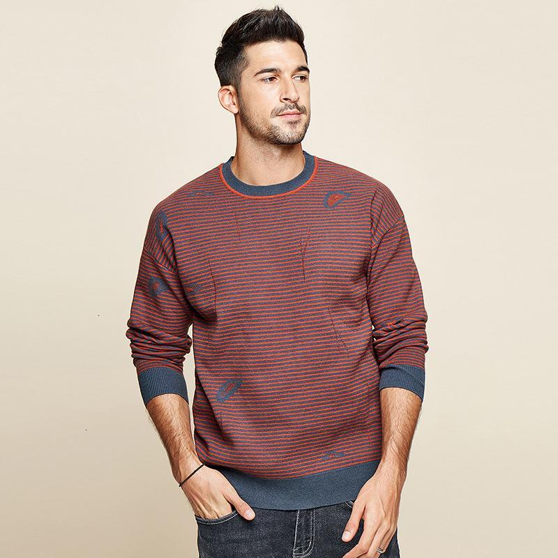 KUEGOU 2020 Осень Полосатых Красного шаблона свитер мужчины пуловер вскользь Перемычка для Мужской Марки Вязаной корейской нового стиля одежды 12508