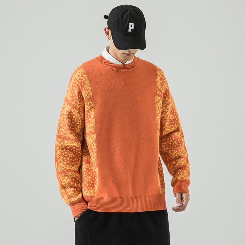Flor de caju Cor combinando camisola masculina grande frouxo linha de linha de moda rótulo de moda outono e inverno espessado malhas