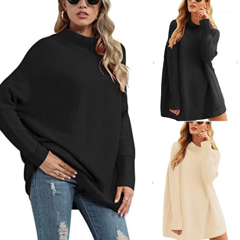 Femmes Pull Casual Terrlet Turtleneck Batwing Slouchy Slouchy Sweatchy Overdized Coupeaux Pulls Solid Pull en vrac 2021 Pulls d'hiver1