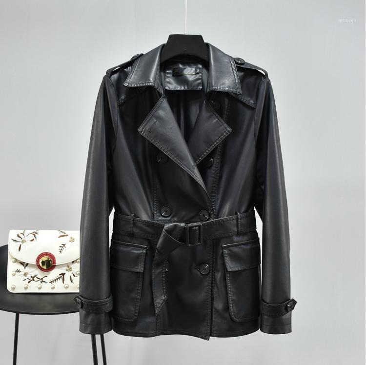 Mantel New Black PU Lederjacke Frauen Dünnes Kunstleder Mantel Damen Qualitäten Doppelrei Breath Gürtel Luxusjacke1