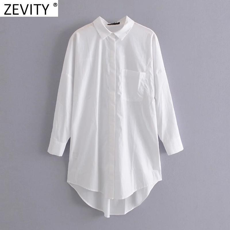 Zevity Nuove Donne Semplicemente Pocket Patch Casual Long Blouse Signore Manica lunga Camicia Azienda Business Chic Chic Femme Blusas Blusas Tops LS7346 201201