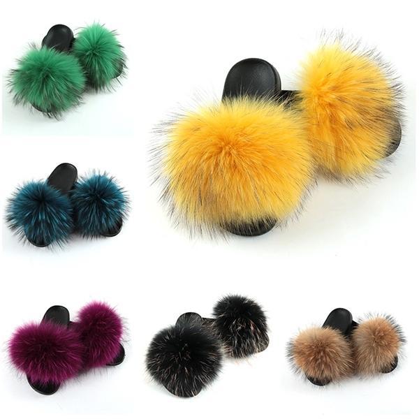 Enfants Chaussons Fluffy raton laveur Diapositives Furry réel Fox TONGS plat enfants arc-en-Chaussures Filles fourrure Sandales