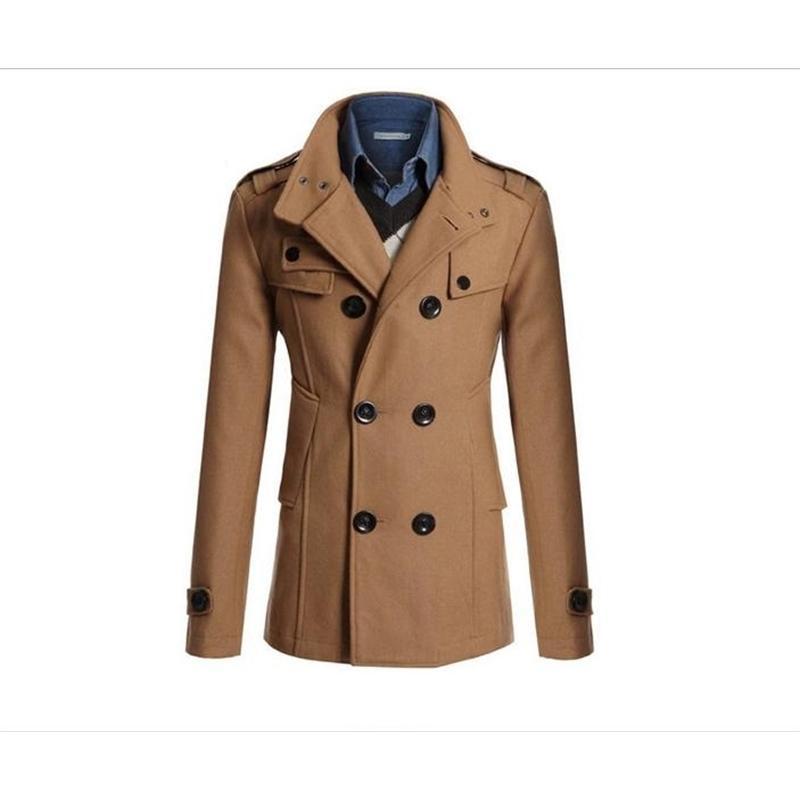 Европейская и американская куртка Корейский тонкий длинный шерстяной пальто Англии мужской бизнес # 651965