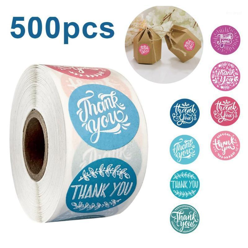 500 unids Ronda Gracias por su pedido Pegatina Hecho a mano S por rollo Aplicable a Etiqueta de embalaje de regalo Etiqueta Blanco Etiquetas1
