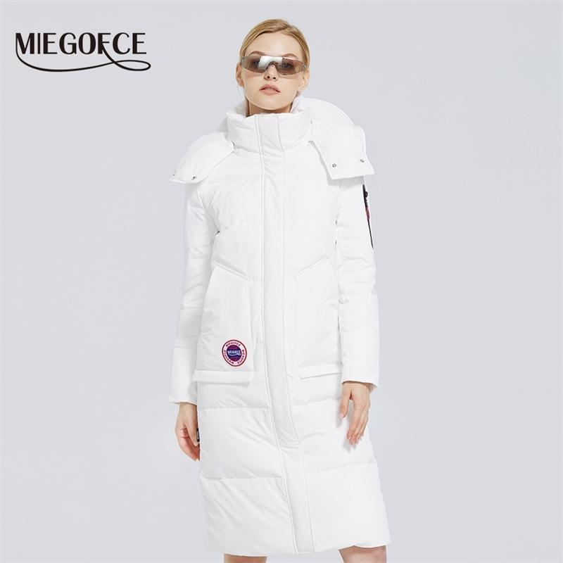 Miegofce Kış Yeni kadın Pamuklu Ceket Uzun Ceket Kadın Parkas Miegofce Tasarım Kışlık Ordu Palto 201026