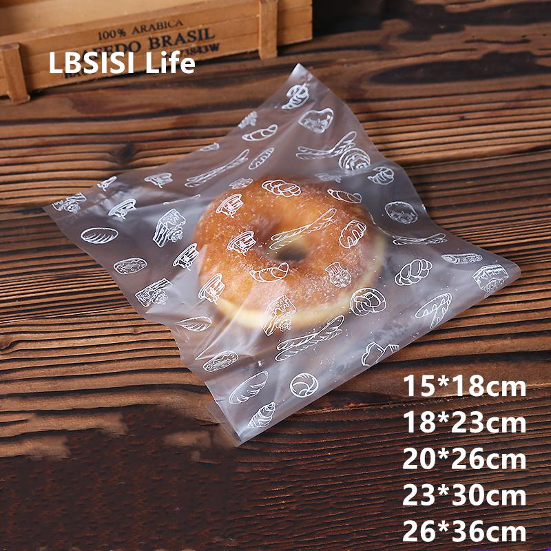 LBSISI Life Soft PE Frosted Plastic Bag For Bread Toast Cookie Candy Disposible PE Top Open Flat Food Gift Bags 201015