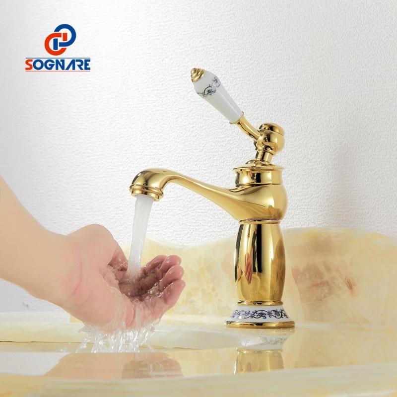 Смесители раковины ванной комнаты бассейна CAUCET Современная Европа золотая отделка холодной латунной одной ручкой с керамическими кранами
